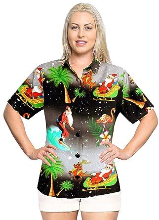 e6b6b5eb3 LA LEELA Relaxed Hawaiian Shirt Santa Blouses Button Down Christmas ...