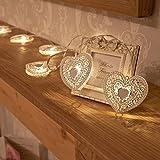 Idée Cadeau Décoration - Guirlande 10 Cœurs Métal Blanc LED à Piles 1,50 Mètre par Festive Lights
