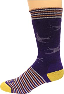 product image for Farm To Feet 100% American Merino Crew Socks 1 Pair, Wrightsville, Purple/Yellow, Women's 7-9.5