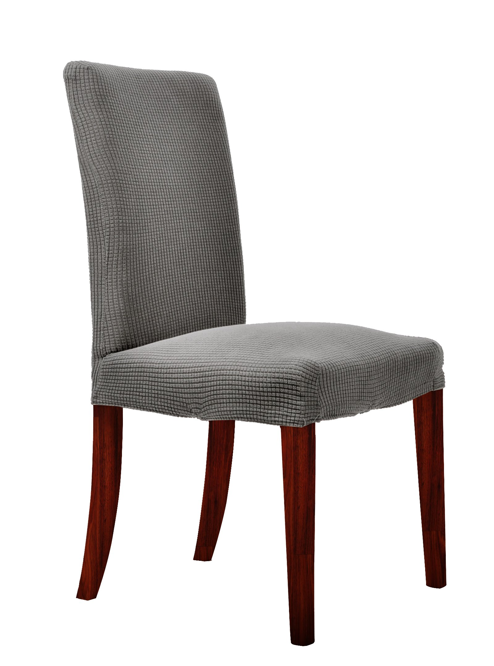 Chunyi Waterproof Jacquard Polyester Spandex Small Checks Dining Chair Covers (4Piece, Gray)