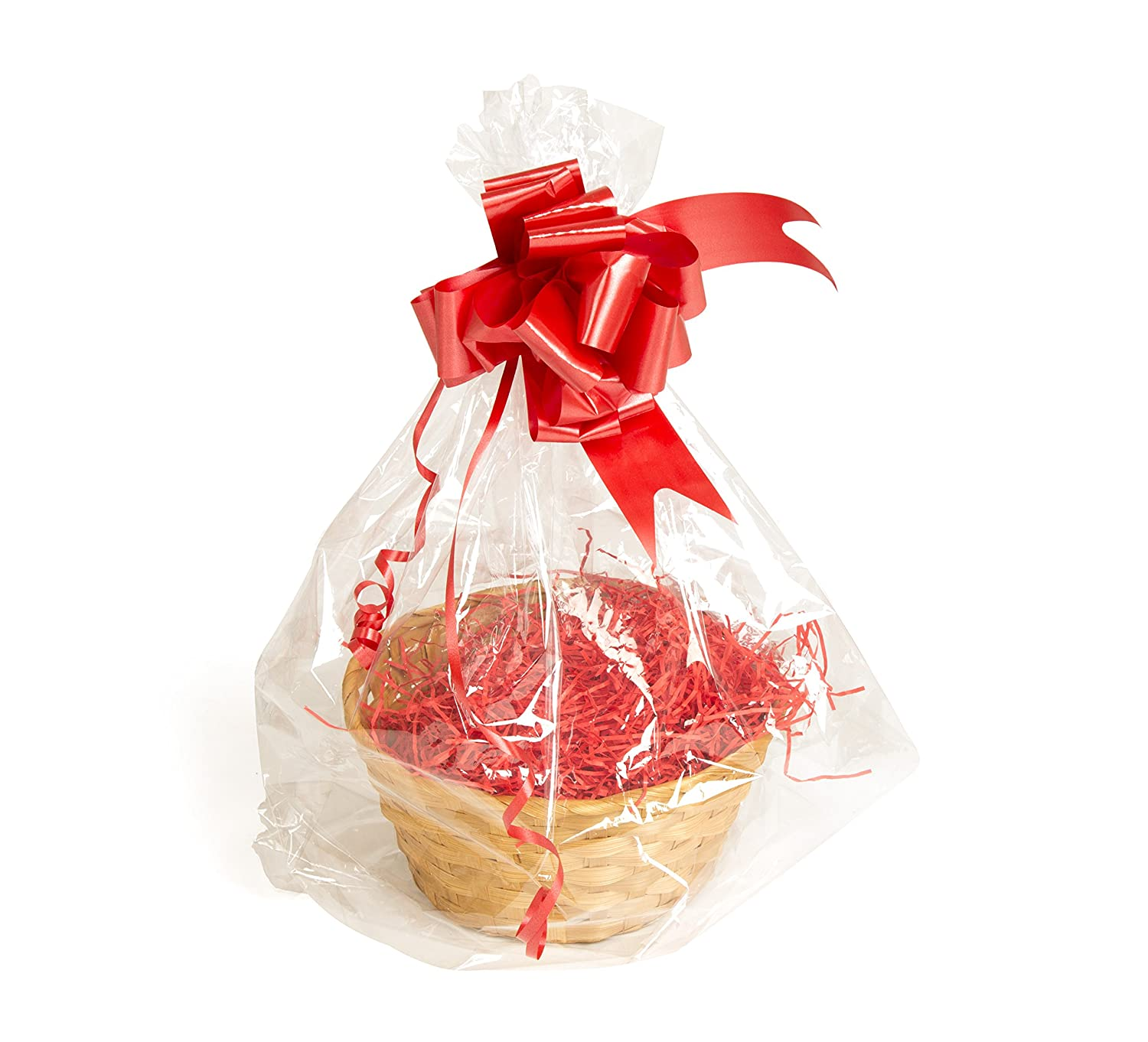Your Gift Basket - Round Bamboo Basket Tray & DIY Hamper Kit with Red Shred, Red Bow and Clear Gift Wrap