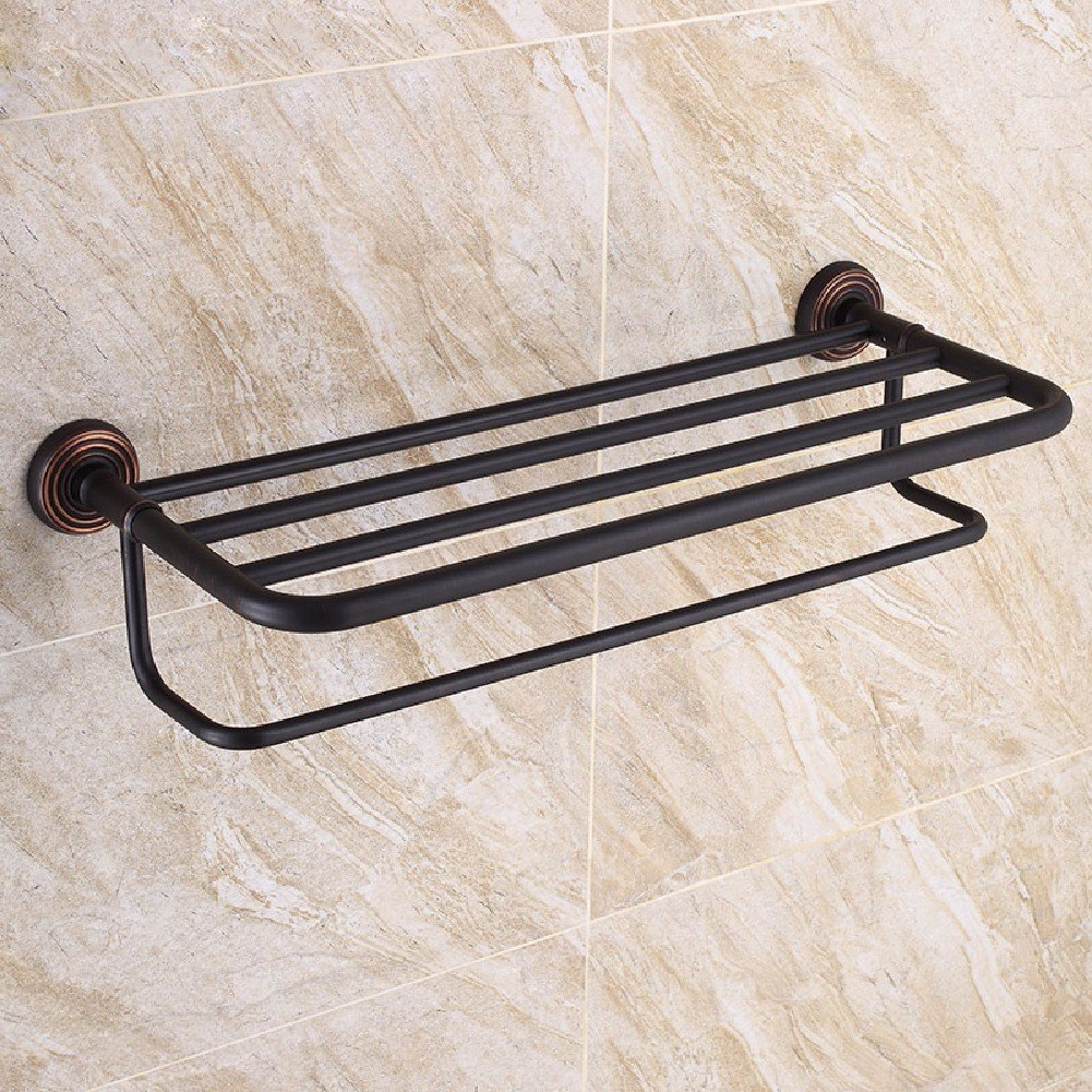 HQLCX Towel Bar, Antique Black Bath Towel Bar, Retro Shelf