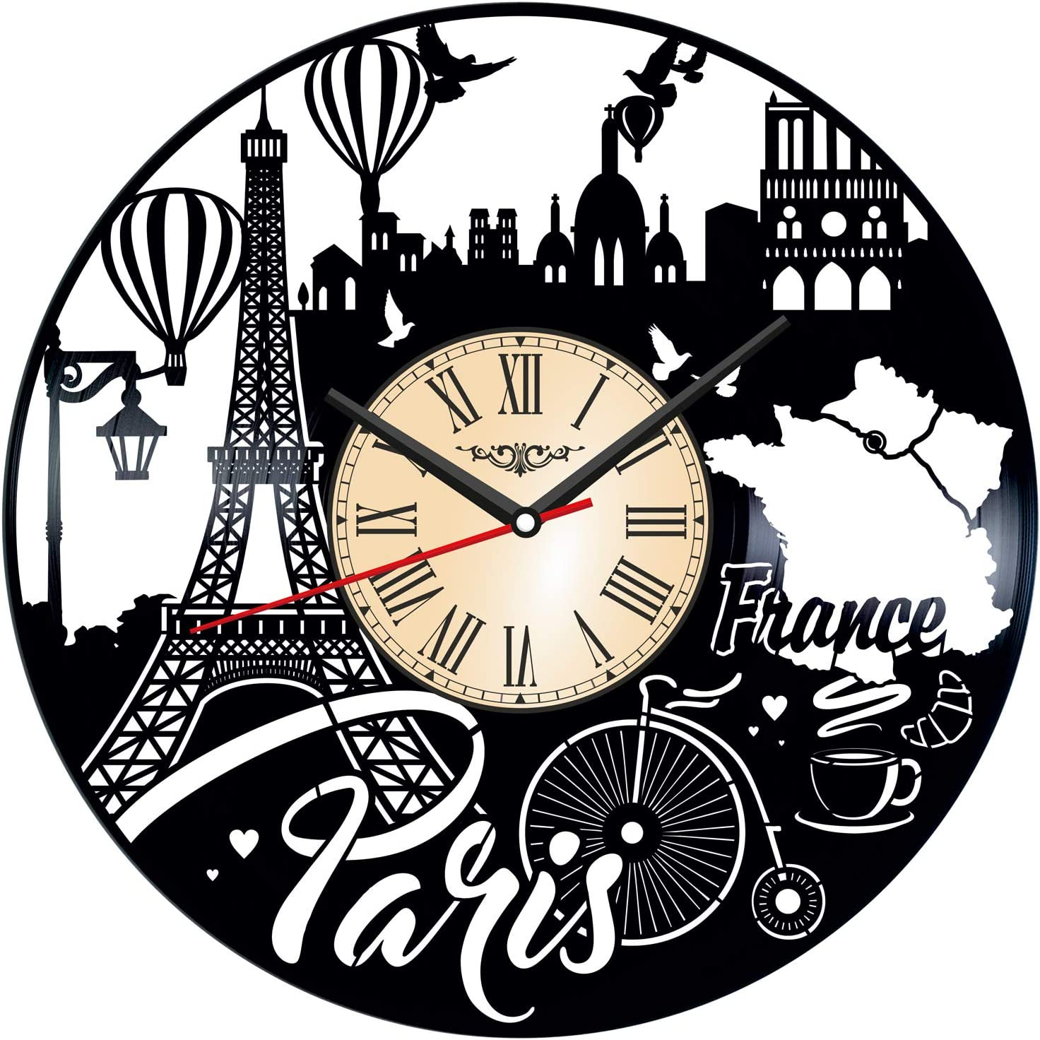 Paris France Vinyl Wall Clock - Home Decor Him Her Birthday Christmas Anniversary - Themed Clock for Your Home Or Office - Kids Living Room Kitchen Wall Art - 12 Inches