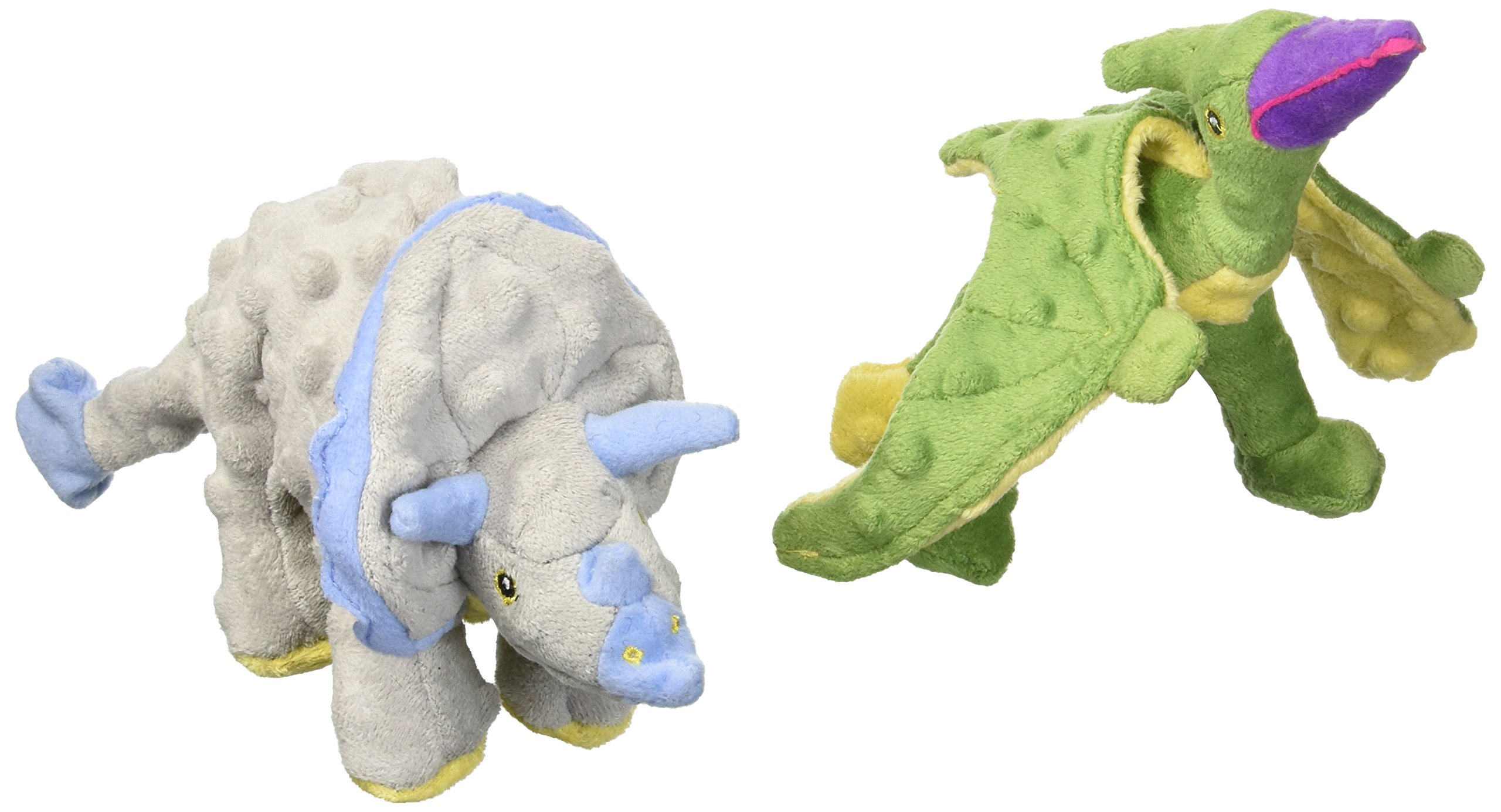 goDog 2 Count Frills Dino Plush Toy & Terry Dino Plush Toy for Dogs
