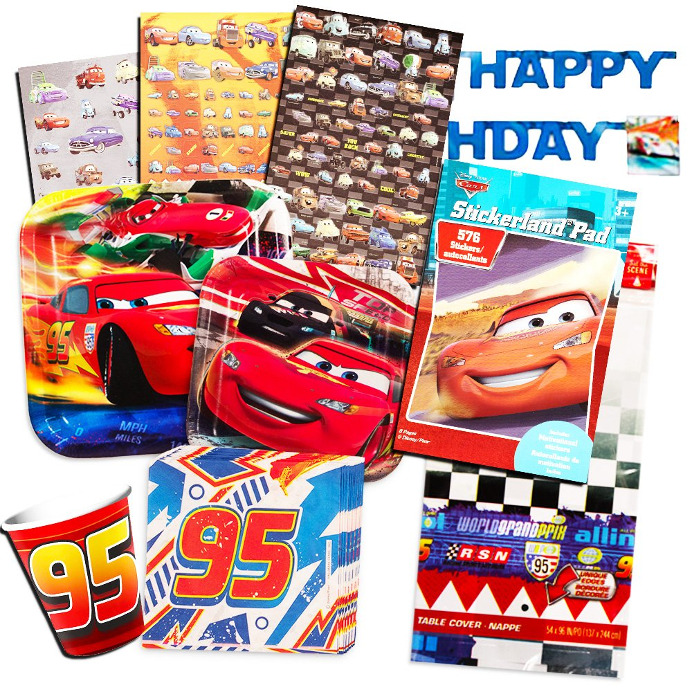 Disney Cars Party Supplies Ultimate Set -- Plates, Dessert Plates, Cups, Napkins, Table Cover and Stickers! by Disney