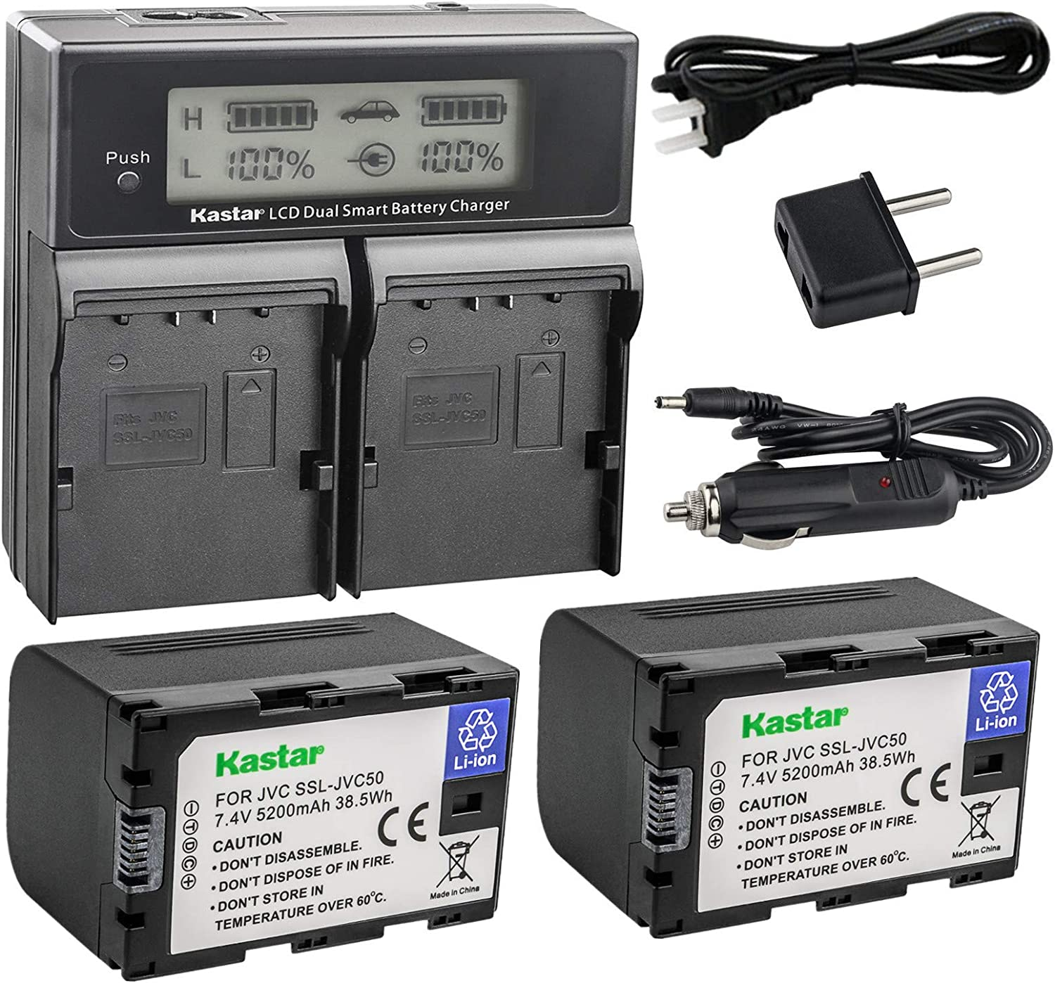 and GY-HM650 Broadcast Camcorders GY-HM200 SSL-JVC50 GY-HM600 SSL-JVC75 USB Dual Battery Charger for JVC GY-HMQ10 GY-LS300