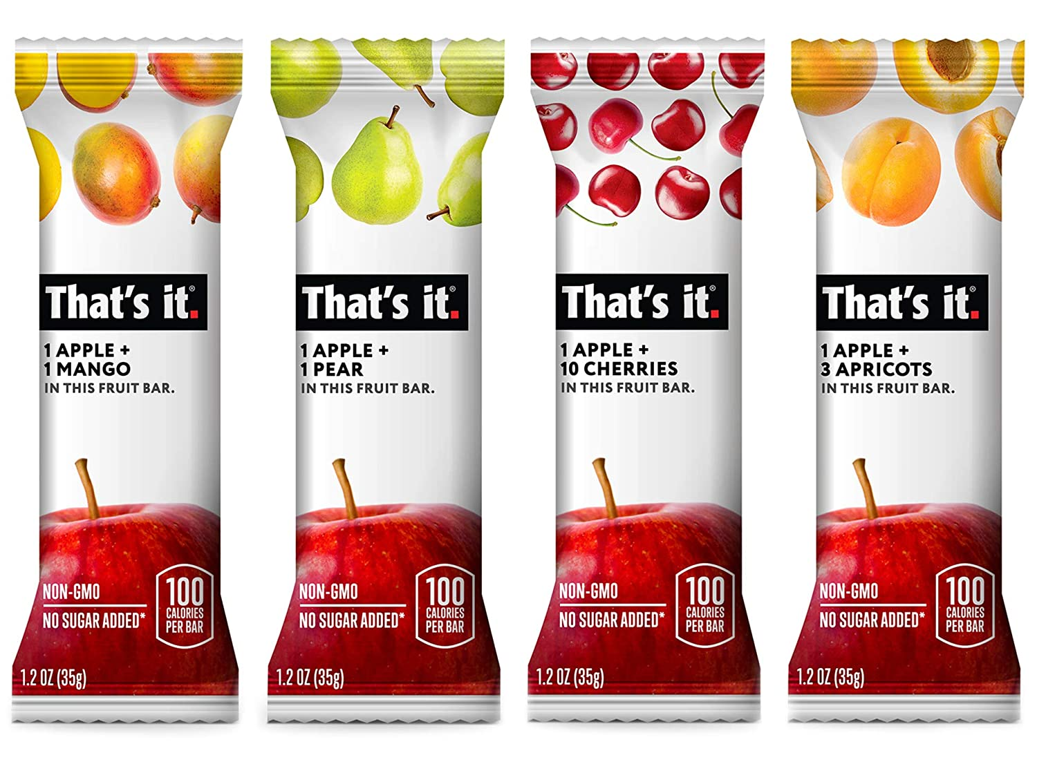 That's it. Variety Pack-1, 100% Natural Real Fruit Bar, Best High Fiber Vegan, Gluten Free Healthy Snack, Paleo for Children & Adults, Non GMO No Added Sugar, No Preservatives Energy Food (36 Pack)
