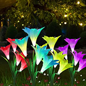 GSBLUNIE Lily Solar Garden Lights Outdoor Decorative, 4 Pack Automatic Charging Solar Garden Stake Lights with 16 Flowers, LED Landscape Solar Powered IP65 Waterproof Lights for Garden Yard Pathway