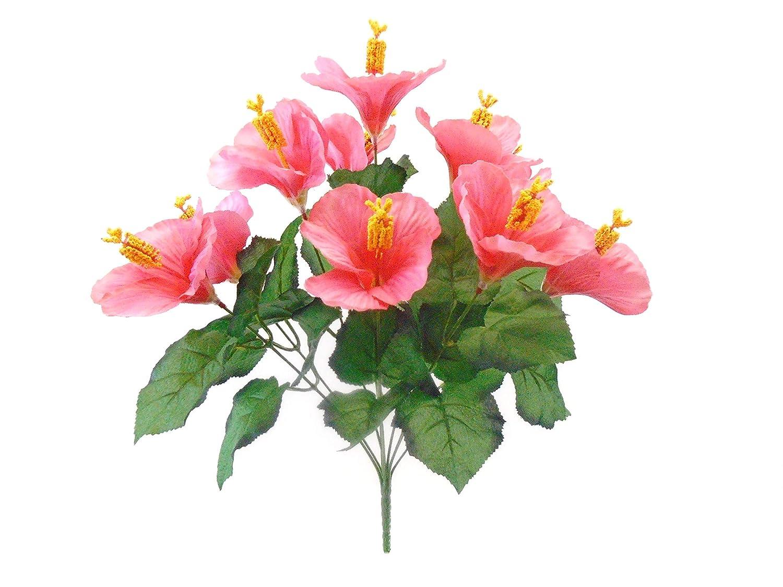 Amazon Hibiscus Bush 10 Artificial Silk Flowers 18 Bouquet