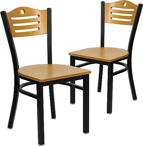 Flash Furniture 2 Pack HERCULES Series Black Slat Back Metal Restaurant Chair