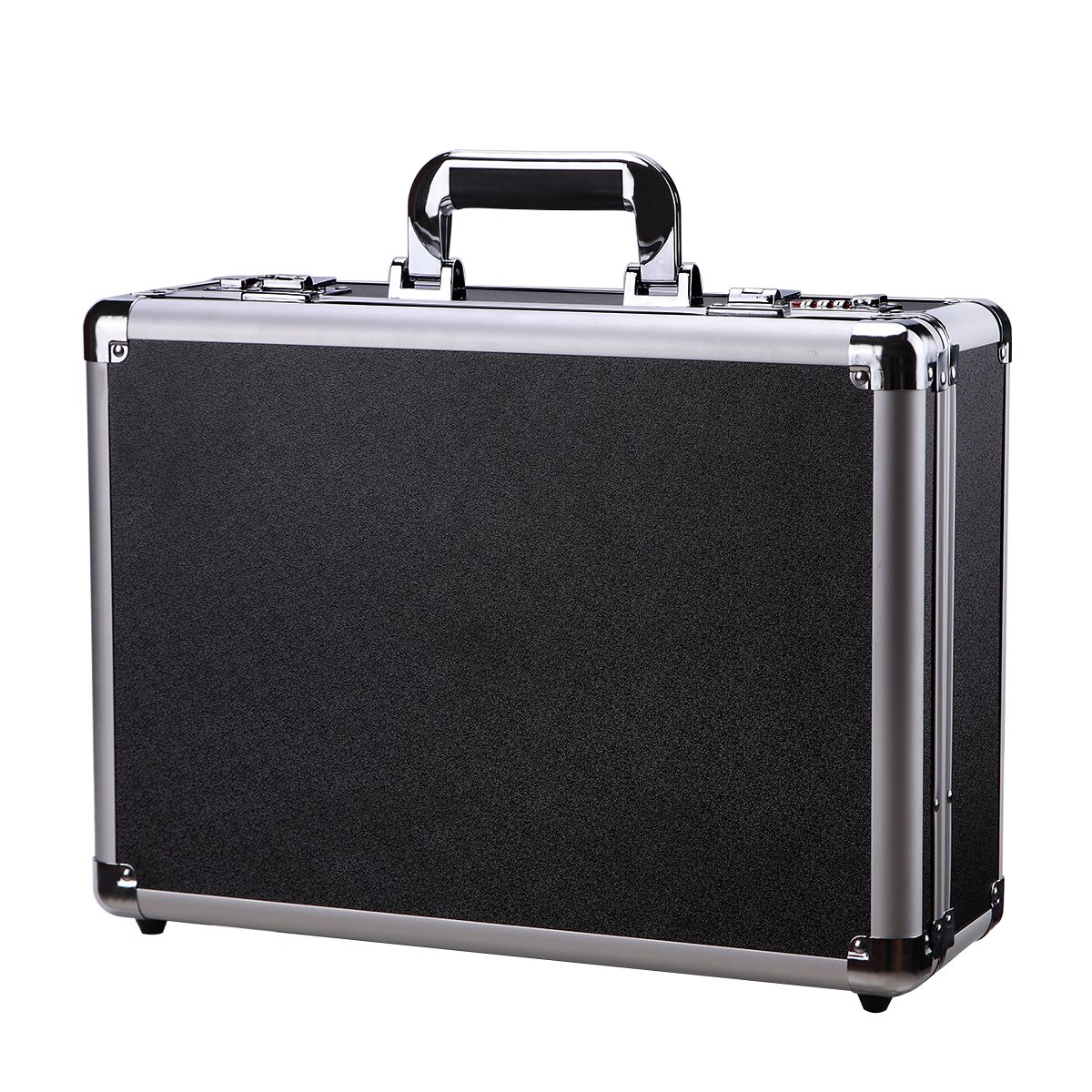 Black Aluminum Case Flight Case Tool Box Silver Metal Frame Hard Carrying Case with Dual Locks