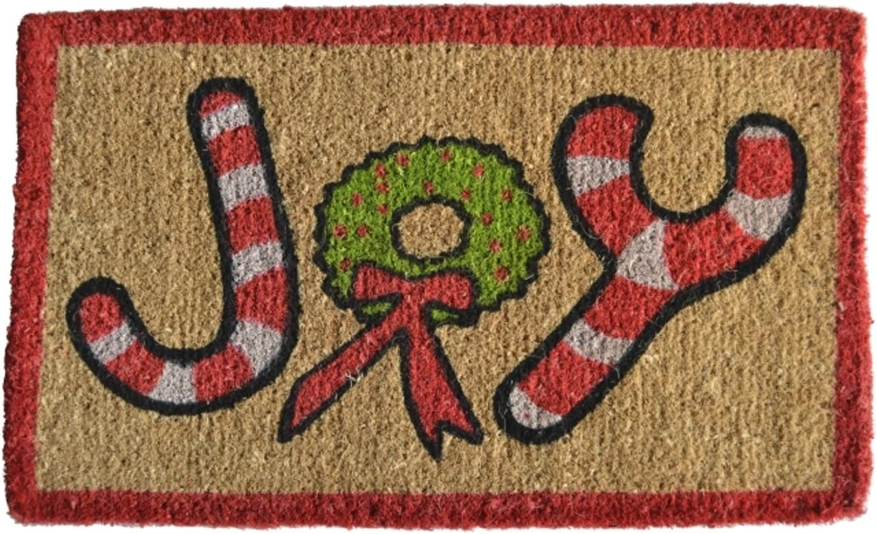 Imports Decor Printed Coir Doormat, Joy, 18-Inch by 30-Inch