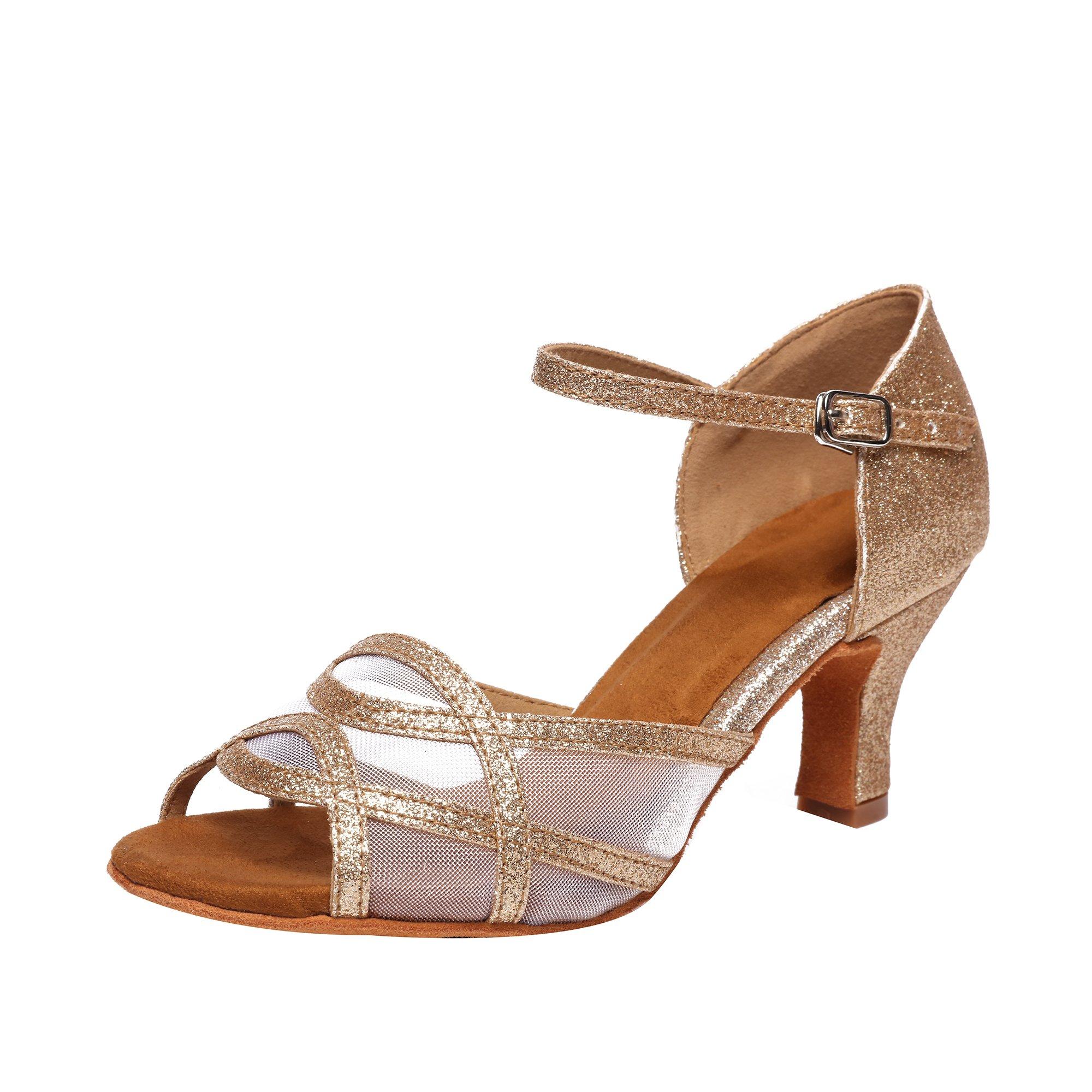 Women's Latin Dance Shoes Female's Ballroom Salsa Dance Shoes(B-Style Gold Size 7.5) by Akanu