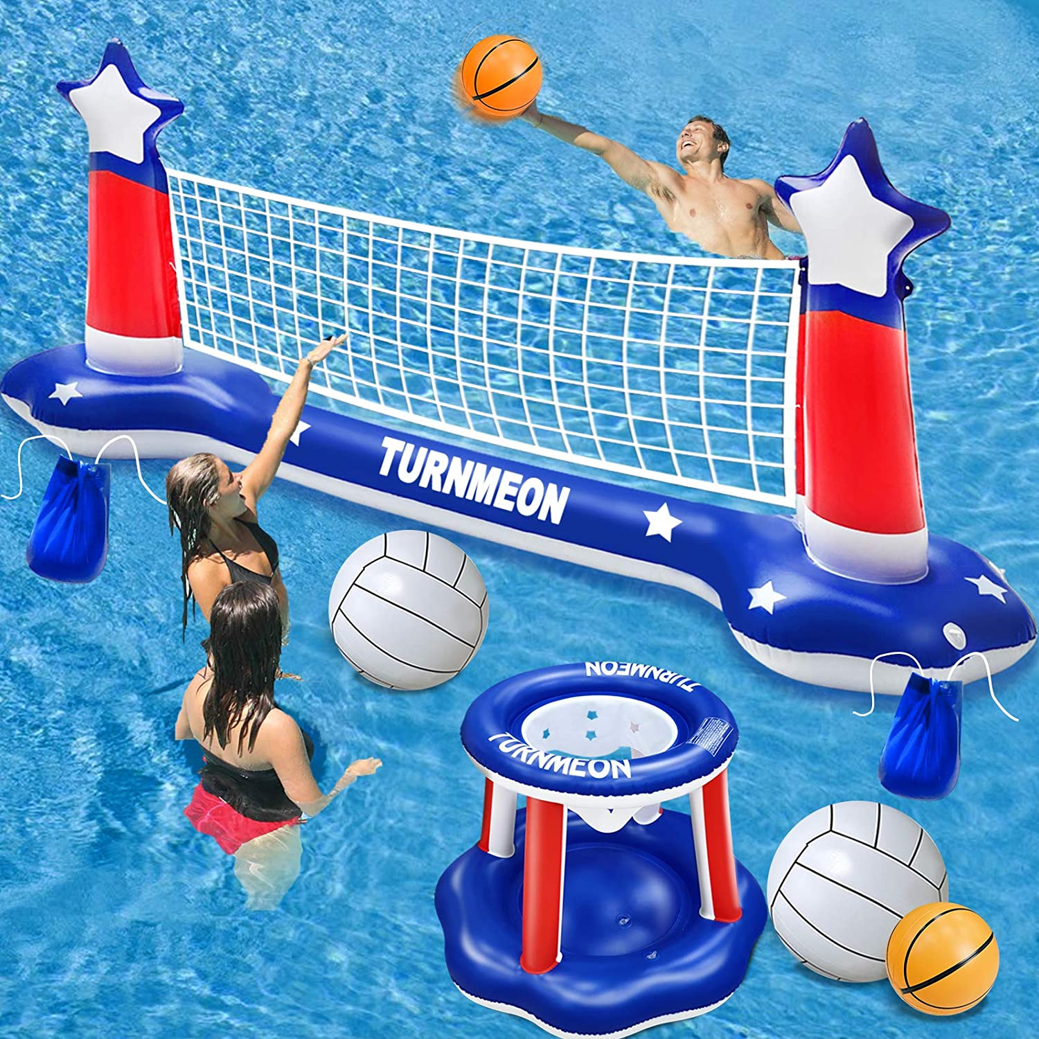 """Large Inflatable Pool Games Volleyball Net & Basketball Hoop Set with 2 Balls Swimming Pool Toys for Adults Kids Pool Floating Water Pool Toys Party Volleyball Net (116""""x46""""x30"""") Hoop (31""""x31""""x24""""): Toys & Games"""