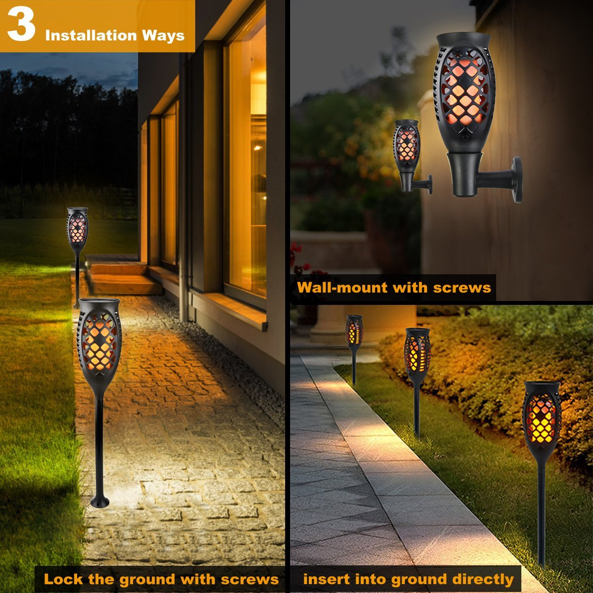 Juhefa Solar Lights Outdoor, Solar Torch Light Flickering Flame 99 LED Waterproof Garden Lighting Pathway Patio Landscape Decoration, 3 Modes & 3 Mounting Options, Dusk to Dawn Auto On/Off (4) by Juhefa (Image #2)