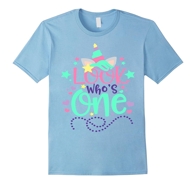 Babys First Birthday Unicorn Shirt Look Whos One 1 Mom Dad-PL