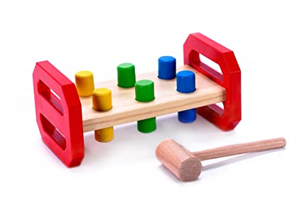 Cubbie Lee Childs Classic Wooden Pounding Bench Toy For Toddlers Pound Tap W Wood Hammer Colored Pegs Developmental Sensory Toy For Boys