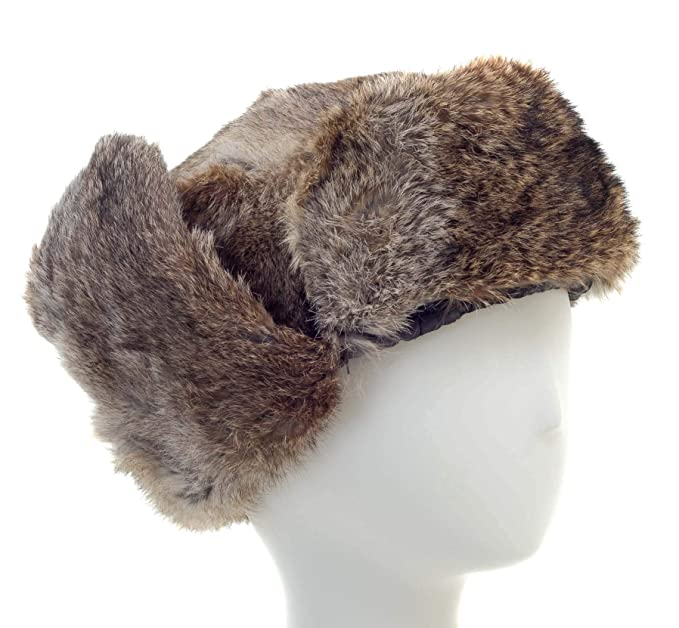 Surell Genuine Rabbit Fur Ushanka Trapper Hat - Warm Russian Fur ... 5214754cad5