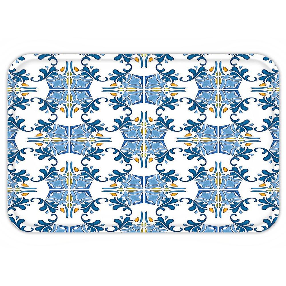 kisscase Custom puerta mattraditional casa Decor Roman azulejo mosaico diseño con famouartful Oriental Inspired imagen azul amarillo: Amazon.es: Jardín