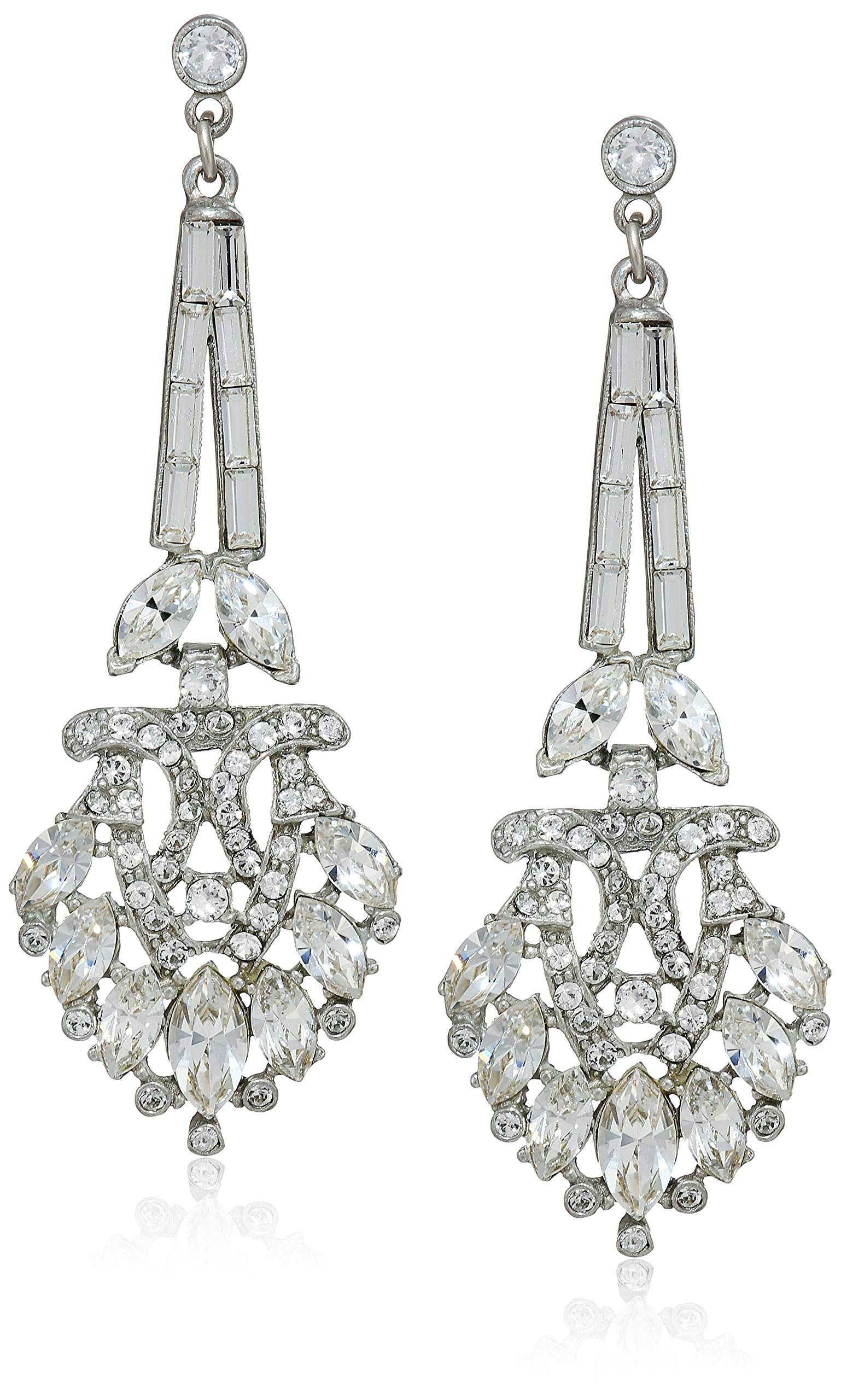 Ben-Amun Jewelry Women's Pearl & Crystal Post Drop Earrings for Bridal Wedding Anniversary, Silver, 3