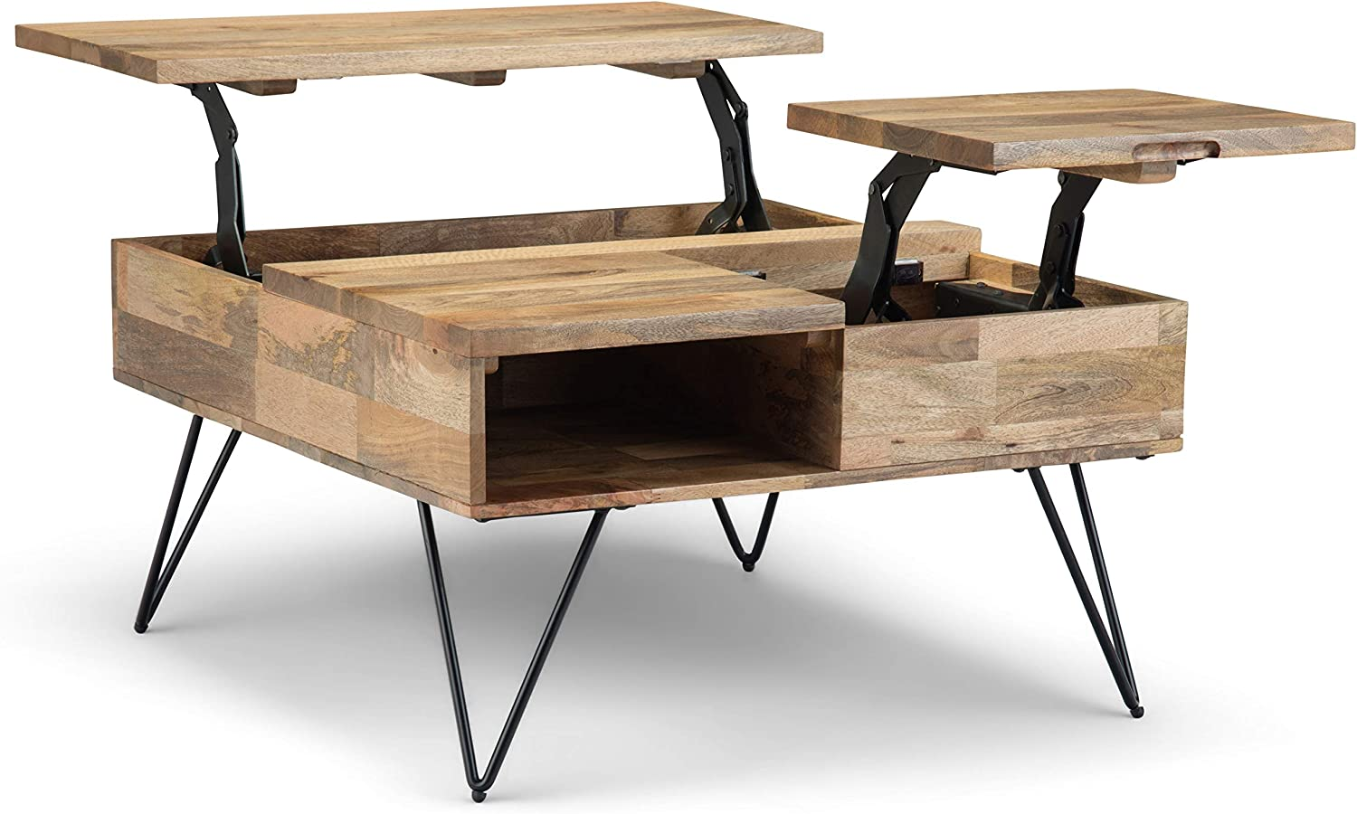 SIMPLIHOME Hunter SOLID MANGO WOOD and Metal 32 inch Wide Square Industrial Contemporary Lift Top Coffee Table in Natural, for the Living Room and Family Room