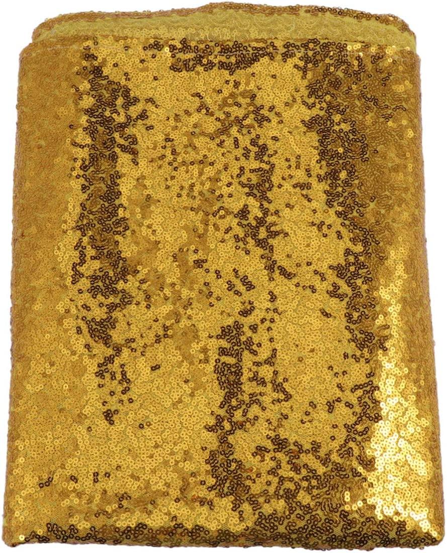 Solustre 4.2x10ft Gold Sequin Brackground Curtain Sequin Backdrop for Wedding Backdrop Party Photography Background