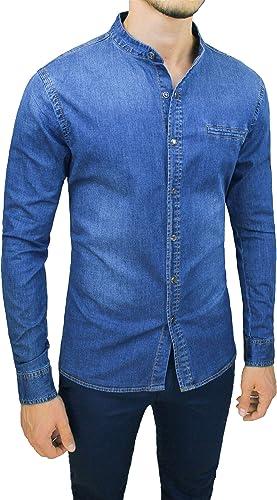 Evoga - Camisa vaquera para hombre Slim Fit Coreana Casual azul vaquero elástico: Amazon.es: Ropa y accesorios