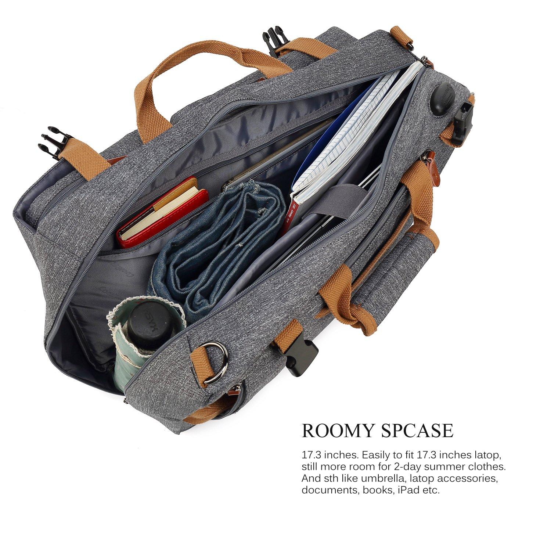 CoolBELL Convertible Briefcase Backpack Messenger Bag Shoulder bag Laptop Case Business Briefcase Travel Rucksack Multi-functional Handbag Fits 17.3 Inch Laptop For Men/Women (Grey) by CoolBELL (Image #3)