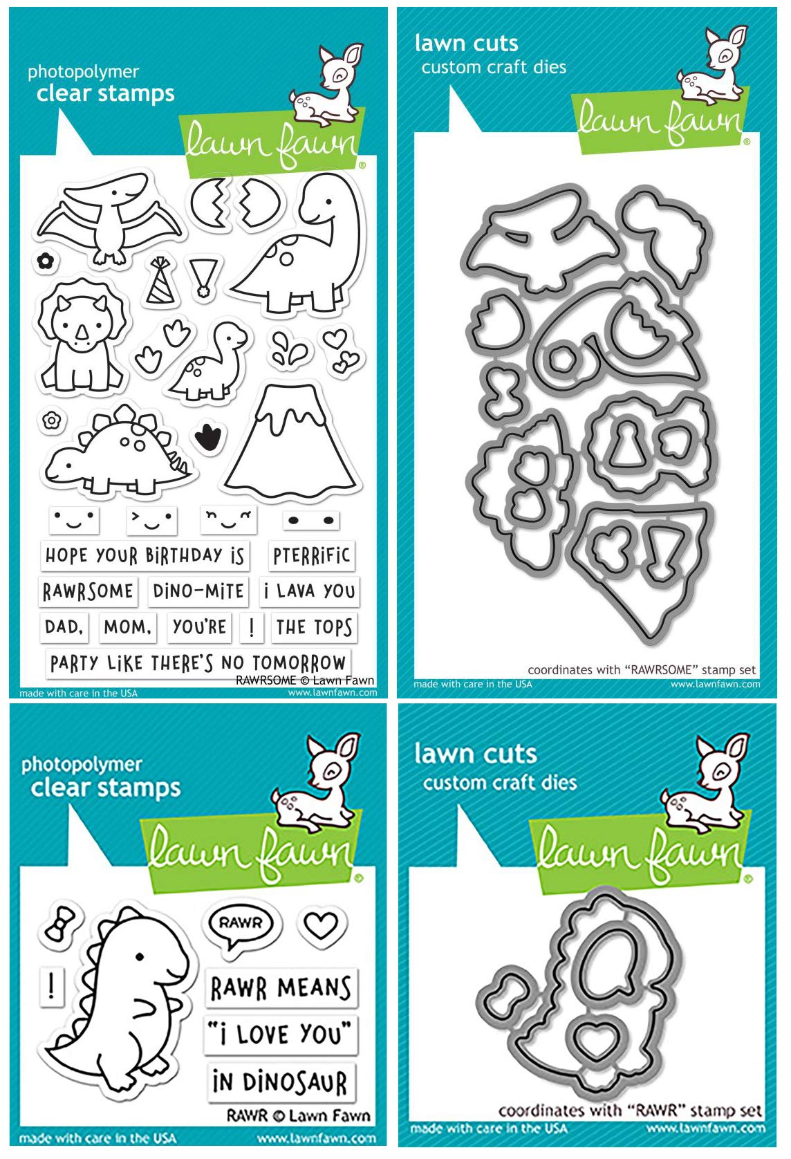 Lawn Fawn - Dinosaur Bundle - Rawrsome & Rawr Clear Stamp and Die Sets - 4 Items