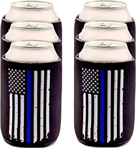 Police Officer Gifts for Men - Thin Blue Line Beverage Can Cooler Sleeves - Law Enforcement Blue Lives Matter Insulated Beer Holder with Blue Stripe American Flag - Police Department Ideas, 6-Pack