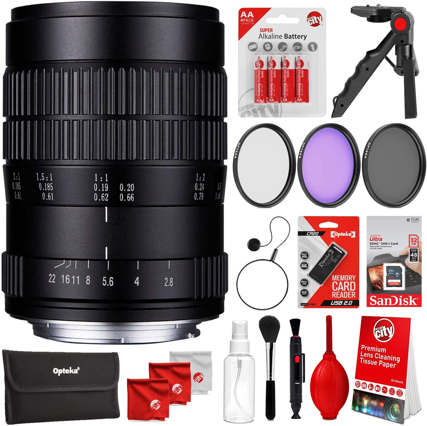 Oshiro 60mm f//2.8 2:1 LD UNC Full Frame Ultra-Macro Lens for Nikon DSLR Cameras Bundle with SanDisk Ultra 32GB SDHC SDXC SD Class 10 48MB//s 320x Memory Card and Accessories 7 Items