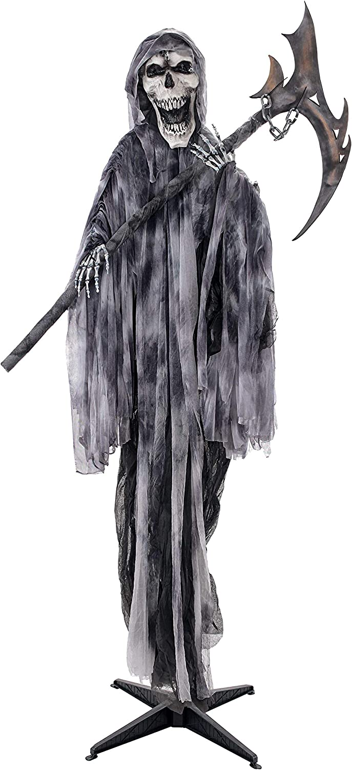 Evil Skull Face Halloween Haunters Life-Size Standing Scary Skeleton Reaper Holding a Sickle of Death Prop Decoration Haunted House Entryway Party Display Morbid Ghost Demon RIP Grim Reaper