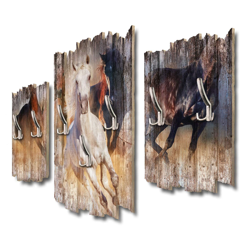 Kreative Feder Wildpferde Designer Wandgarderobe Flurgarderobe Wandpaneele 95 x 60 cm aus MDF DTGH114