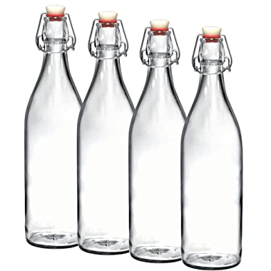 Bormioli Rocco Giara Clear Glass Bottle With Stopper [Set of 4] Swing Top Bottles Great for Beverages, Oil, Vinegar   33 3/4 oz