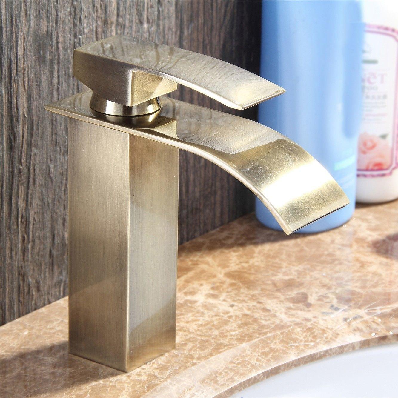 NewBorn Faucet Küche oder Badezimmer Waschbecken Mischbatterie antiken Wasserfall voll Kupfer heiß und Cold-Water ist der Orb