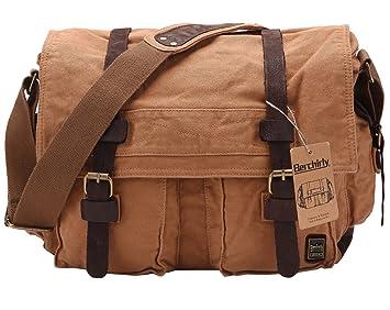 Amazon.com  Berchirly Military Canvas Leather Messenger Shoulder Bag ... 388f80dbe4