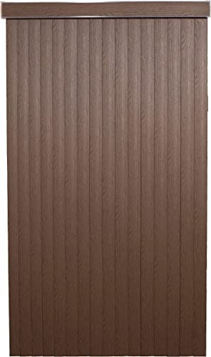 Chestnut WoodLook Textured Vinyl Vertical Blinds with Embossed Vanes, 78 Wide x 98 Long Cordless