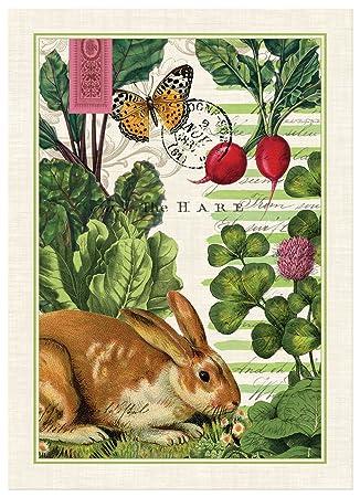 Michel Design Works Garden Bunny Cotton Kitchen Towel, Multicolor