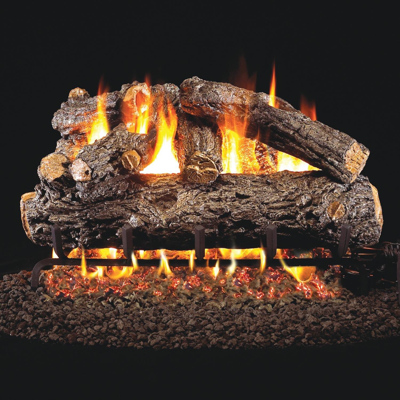 Peterson Real Fyre 30-inch Rustic Oak Designer Gas Log Set With Vented Natural Gas G45 Burner - Match Light