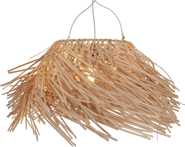 Guru-Shop Deckenlampe/Deckenleuchte Hernando - in Bali Handgemacht aus Naturmaterial, Rattan, Bambus, Baumwolle, 45x35x35 cm, Dekolampe Stimmungsleuchte Modell Tabasco