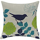 CaliTime Canvas Throw Pillow Cover Case for Couch Sofa Home Decor Floral Cartoon Shadow Bird Silhouette 18 X 18 Inches Natural Ground Navy Bird