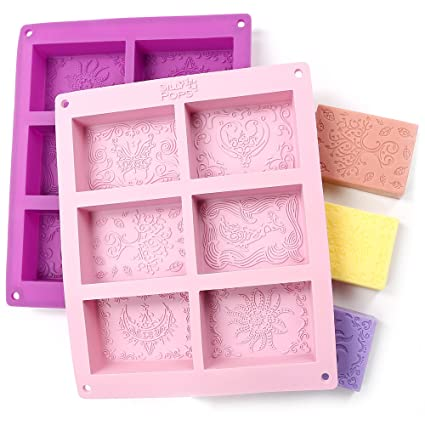 Amazon Com Rectangle Silicone Soap Molds Set Of 2 For 12 Cavities