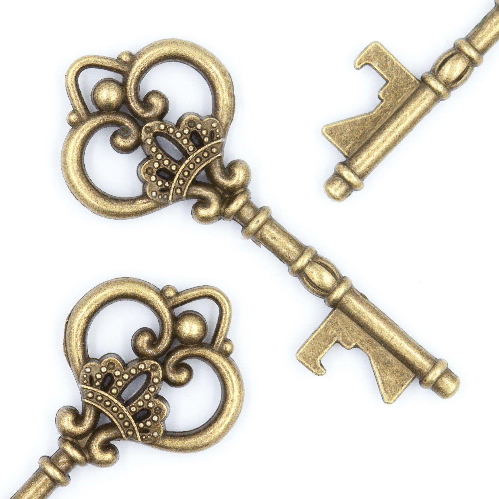 Ella Celebration Wedding Favors - Vintage Skeleton Key Bottle Openers - Queen Keys (50, Antique Gold)