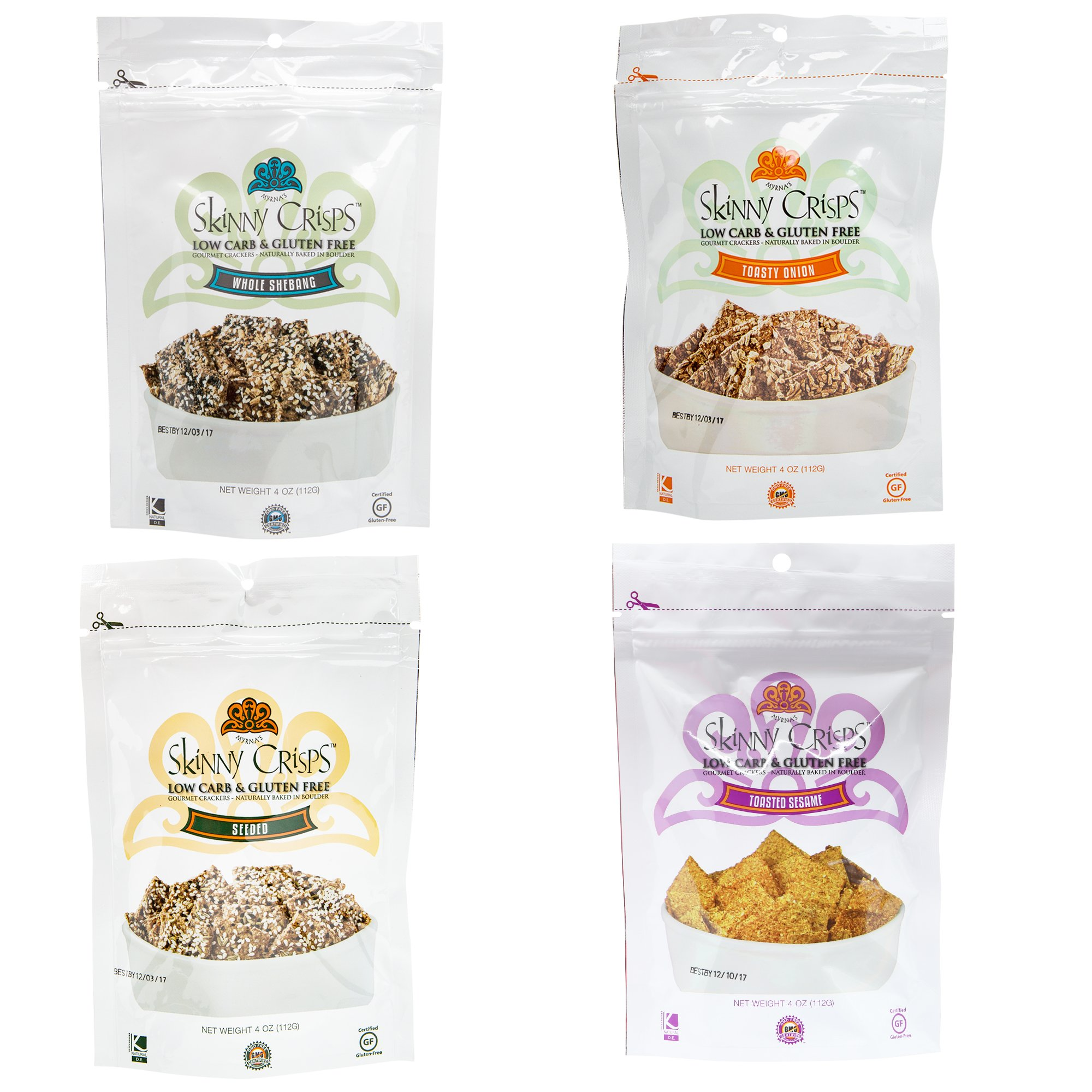Skinny Crisps Low Carb Gluten Free Crackers Variety Pack (4 Flavors Value Pack)
