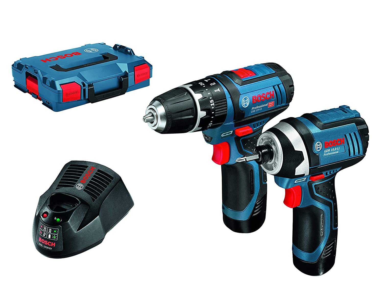 Bosch Professional Set 10.8 / 12 V GSB 10.8-2-LI Professional Combi + GDR 10.8-LI Professional Impact Driver + 2 x 2.0 Ah Batteries + AL 1130 CV, in an L-BOXX 06019B697F