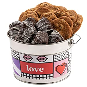 David's Cookies Valentine's Day Assorted Cookies Bucket – Thin Crispy Cookies and Chocolate Dipped Brownies Treats – Delicious Traditional Recipes – Decorated Bucket V-Day Cookies