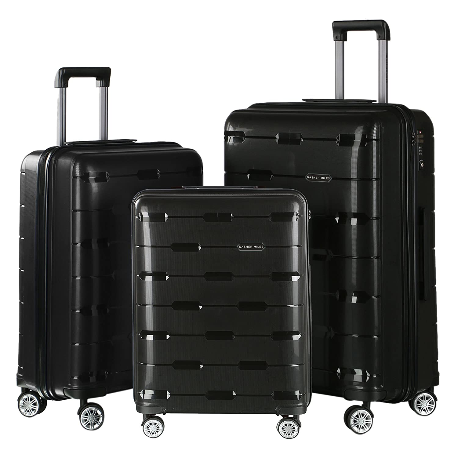 Nasher Miles Santorini PP Hard-Sided Luggage Set of 3 Trolley Travel Tourist  Bags (55 0325dbceb01b1