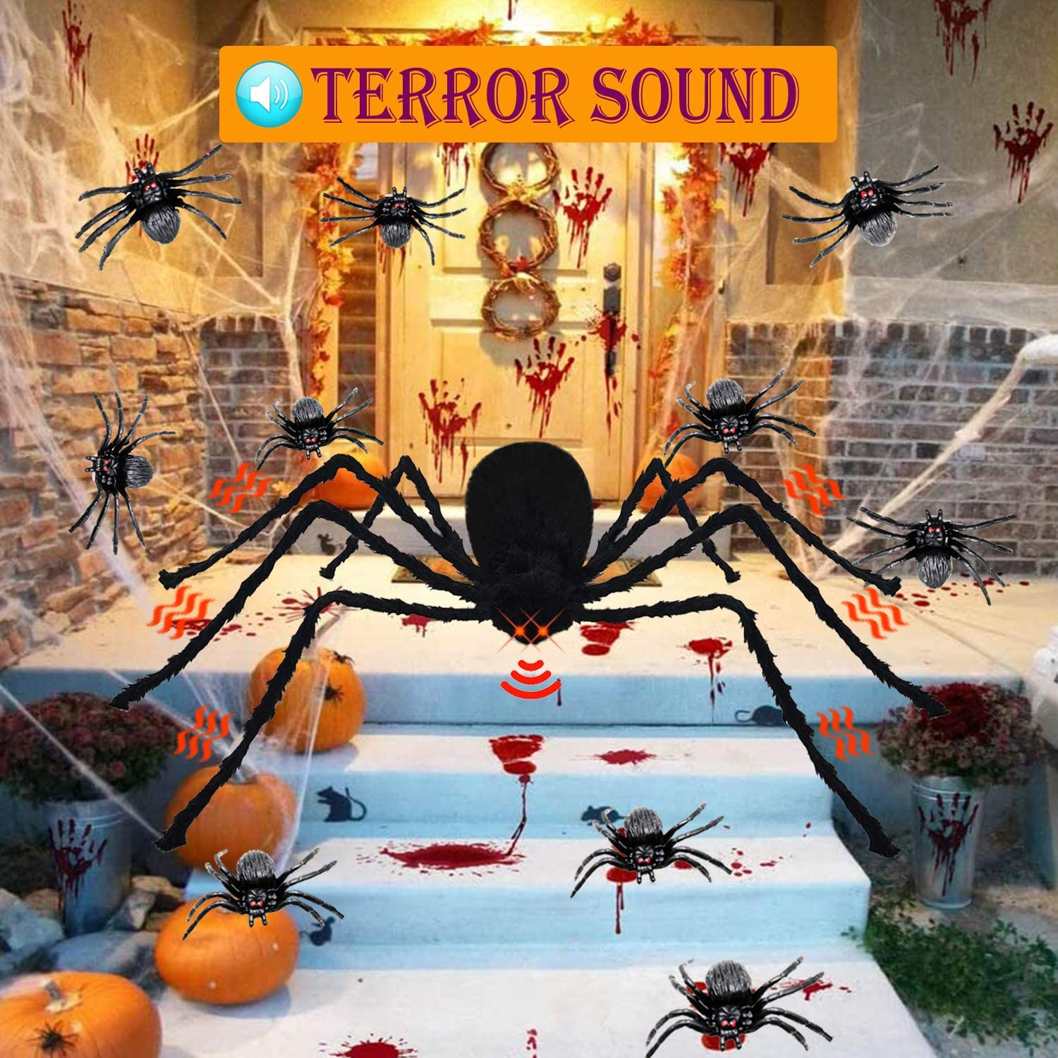CRRXIN Halloween Decorations Giant Spider 4.1ft with Spider Web, LED Scary Red Eyes with Spooky Sound, Large Fake Spider for Halloween Garden Decorations Haunted House Decor