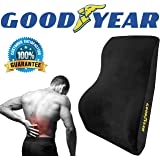 Goodyear GY1015 - Full Size Back Support Pillow for Office Chair or Car / SUV - Helps Relieve Pain - 100% Pure Memory Foam - Improves Posture - Fits Most Seats - Premium Soft Plush