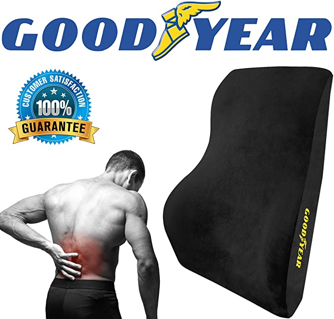 Goodyear GY1015 - Full Size Back Support Pillow for Office Chair or Car / SUV - Helps Relieve Pain - 100% Pure Memory Foam - Improves Posture - Fits ...